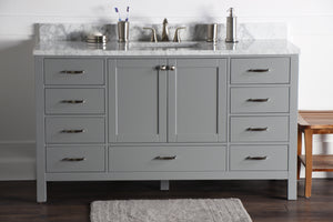 "Abigail 60"", Naos, Slate Grey Bathroom Vanity with 3cm Bianco Carrara Marble Top"