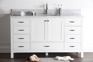 "Abigail 60"", Naos, Bright White Bathroom Vanity with 3cm Bianco Carrara Marble Top"