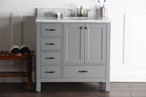 "Abigail 36"", Naos, Slate Grey Bathroom Vanity with 3cm Bianco Carrara Marble Top, right sink"