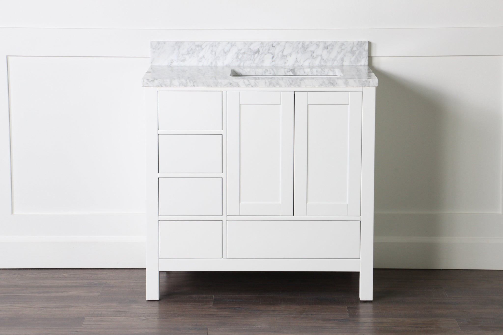 "Abigail 36"", Naos, Bright White Bathroom Vanity with 3cm Bianco Carrara Marble Top, Right"