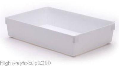 "(24) Rubbermaid 2916-RD-WHT 9"" x 6"" x 2"" White Plastic Drawer Organizer Bins"