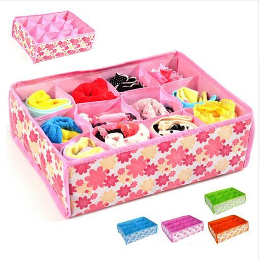 Pink Blue 12 Grid Storage Boxes Organizer Flodable Non-woven Underwear Sock Bra Drawer Organizer christmas gift Box 301-0467