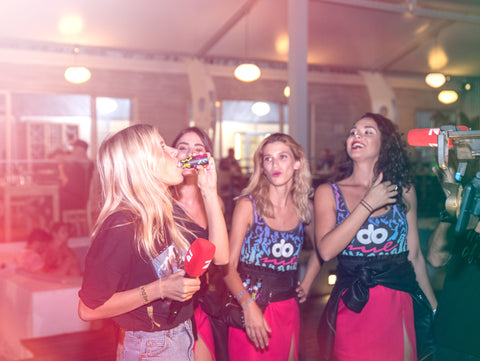 Do Me love drink at BPM festival Portugal, party happy girls drinking the shot