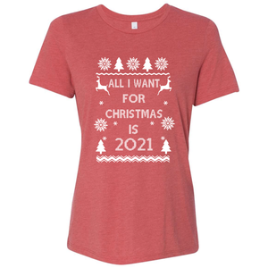 Women's Triblend All I Want For Christmas Is 2021 T-Shirt