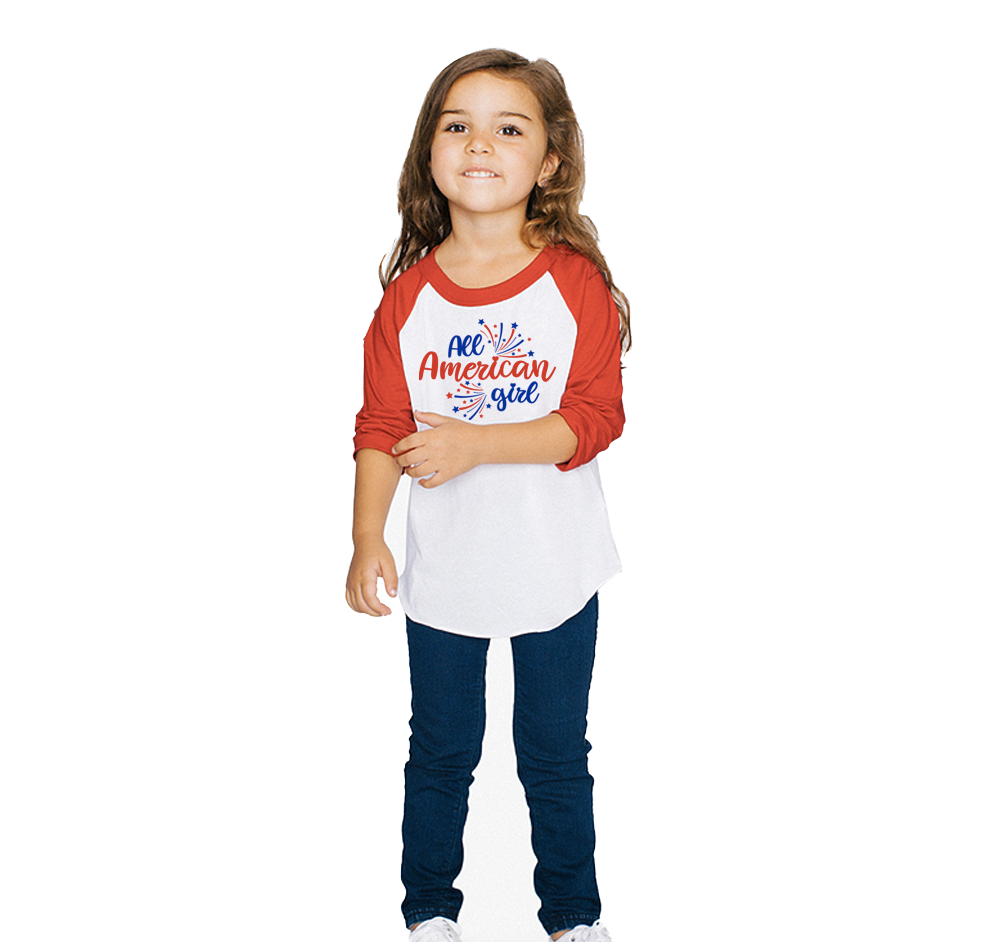 Toddler All American Girl 3/4 Sleeve Baseball Tee
