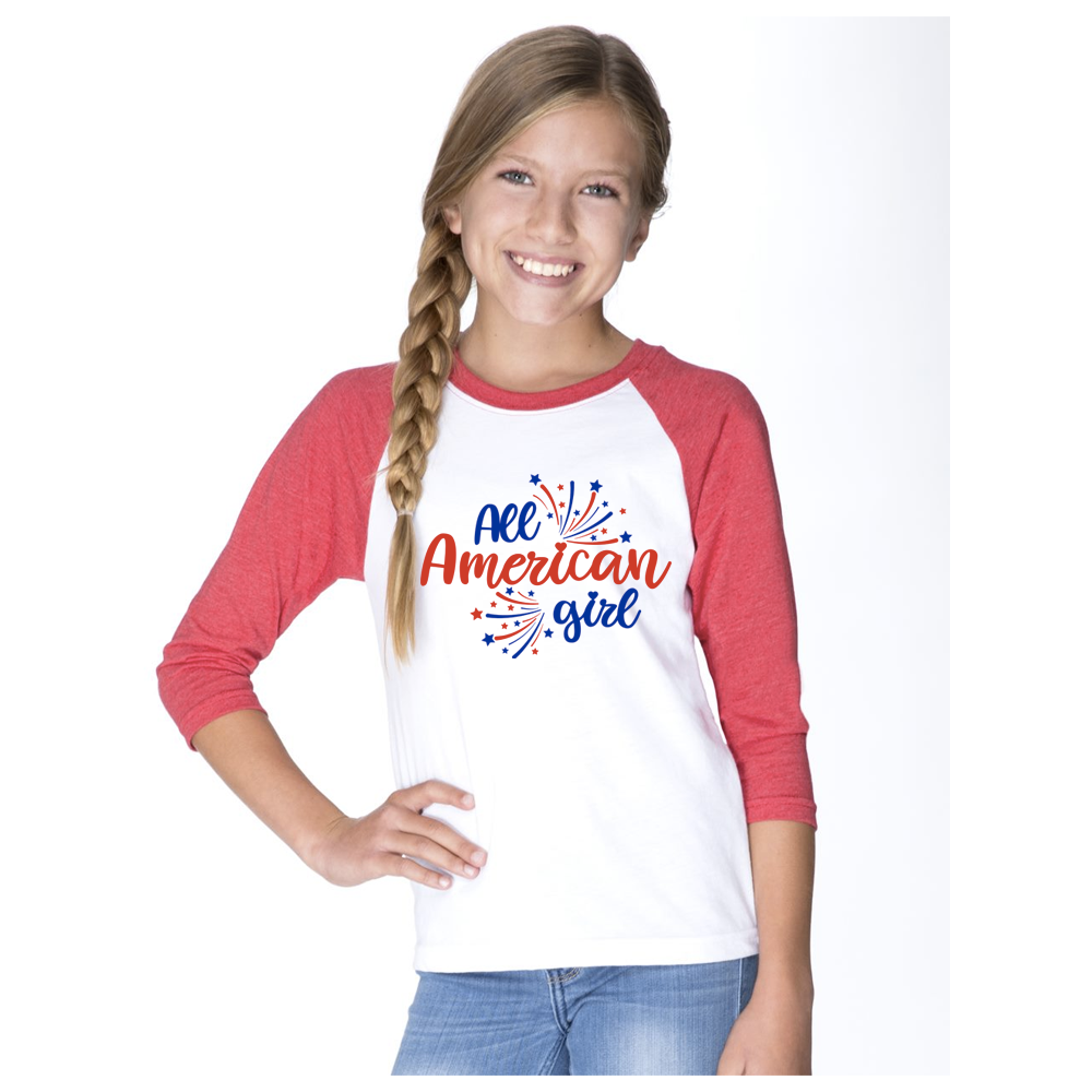 Youth All American Girl 3/4 Sleeve Baseball Tee