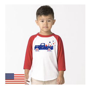 Toddler Freedom Truck 3/4 Sleeve Baseball Tee