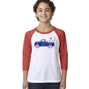 Youth Freedom Truck 3/4 Sleeve Baseball Tee