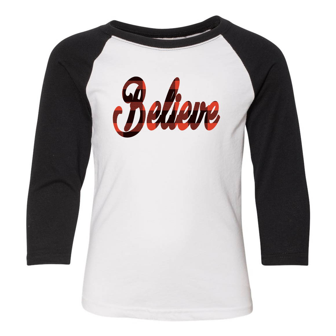 Believe 3/4 Sleeve Raglan: Infant, Toddler, Youth