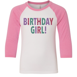 Youth Birthday Girl 3/4 Sleeve Baseball Tee
