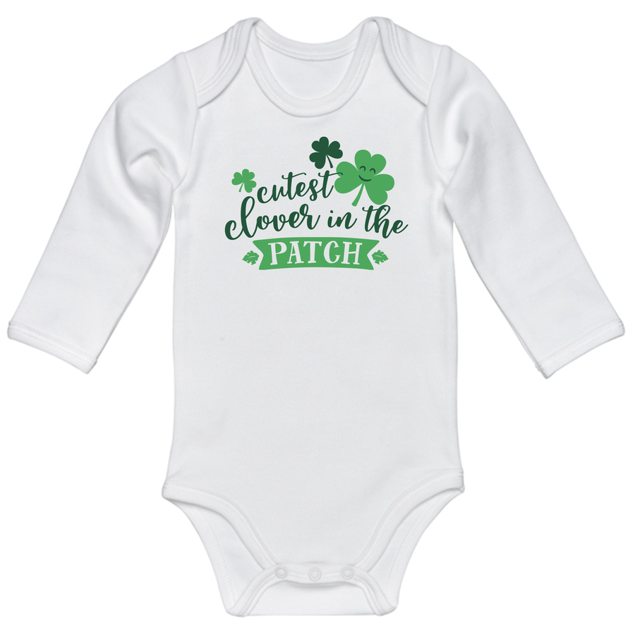 Infant Cutest Clover Onsie - White