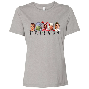 Triblend Women's Holiday Friends Grey V-Neck Long Sleeve Shirt