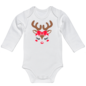Infant Girl Reindeer Long Sleeve Onesie