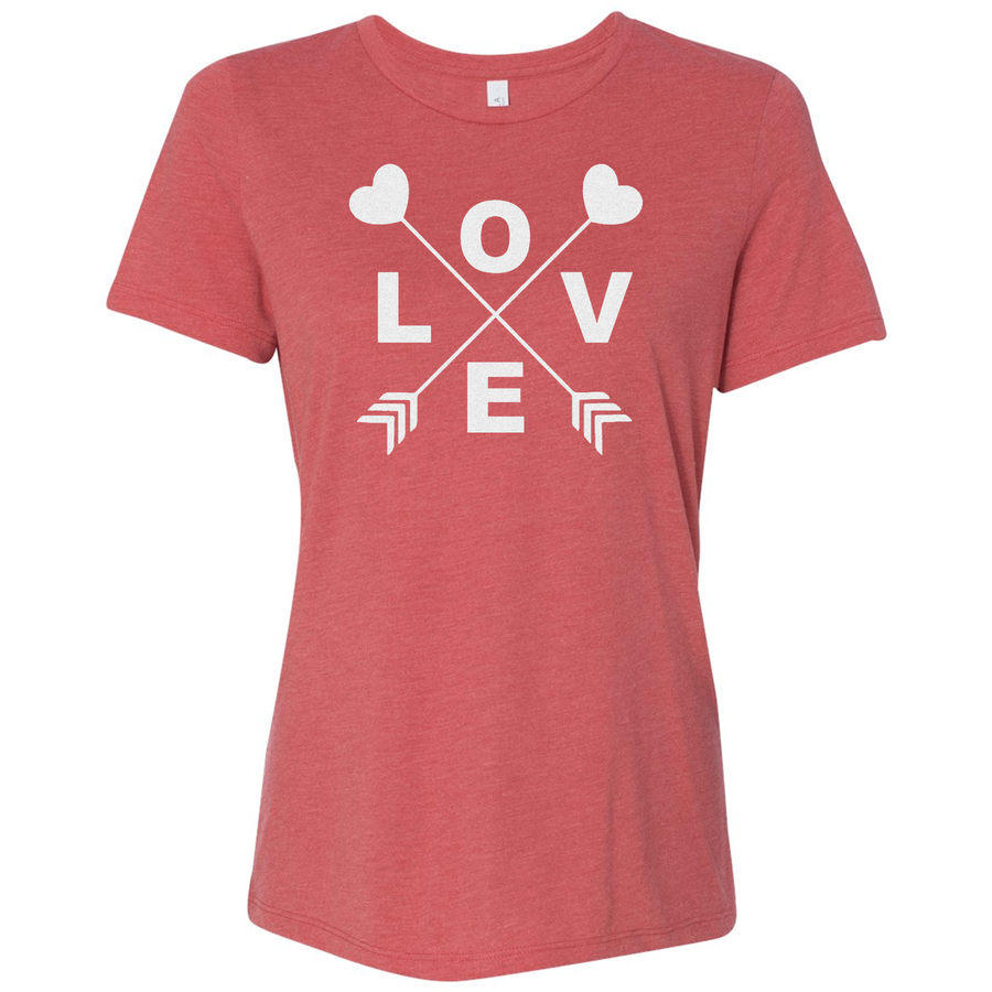 Triblend Women's Glitter Love Short Sleeve Shirt