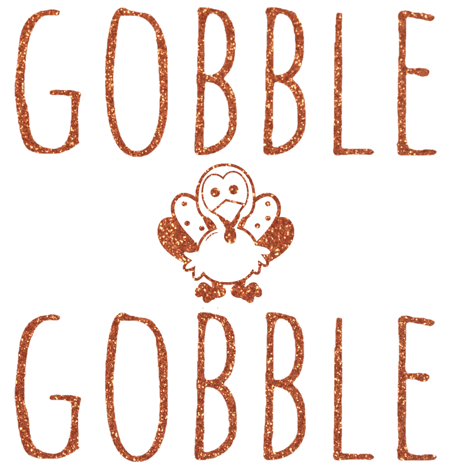 Infant, Toddler, and Youth Gobble Gobble Glitter Turkey 3/4 Sleeve Baseball Tee