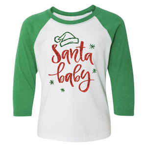 Santa Baby 3/4 Sleeve Raglan: Infant, Toddler, Youth