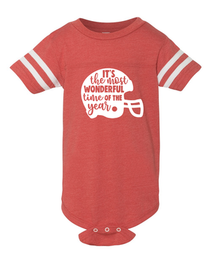 Infant Football 'Tis the Season Helmet Onesie