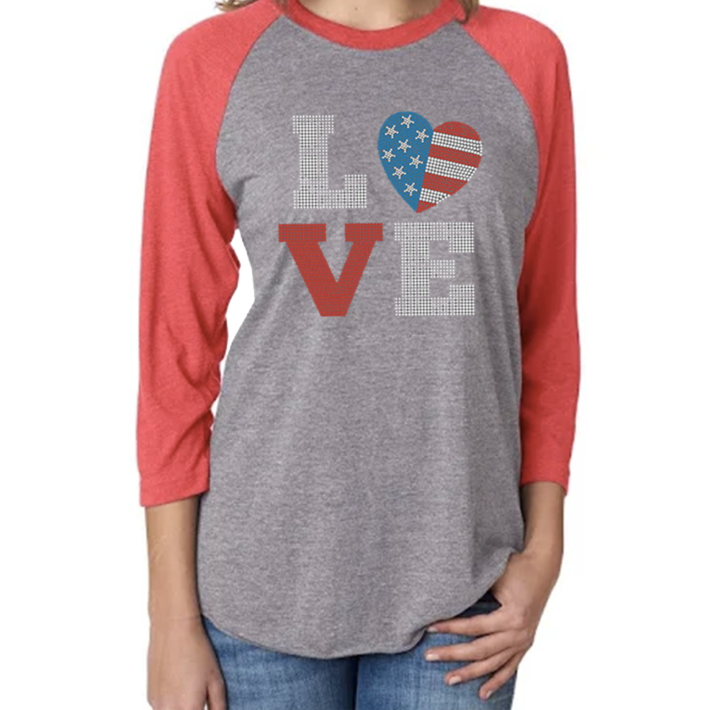 Women's Fourth of July Love Studded 3/4 Sleeve Baseball Tee
