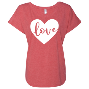 Women's Loving Heart Triblend Short Sleeve Shirt