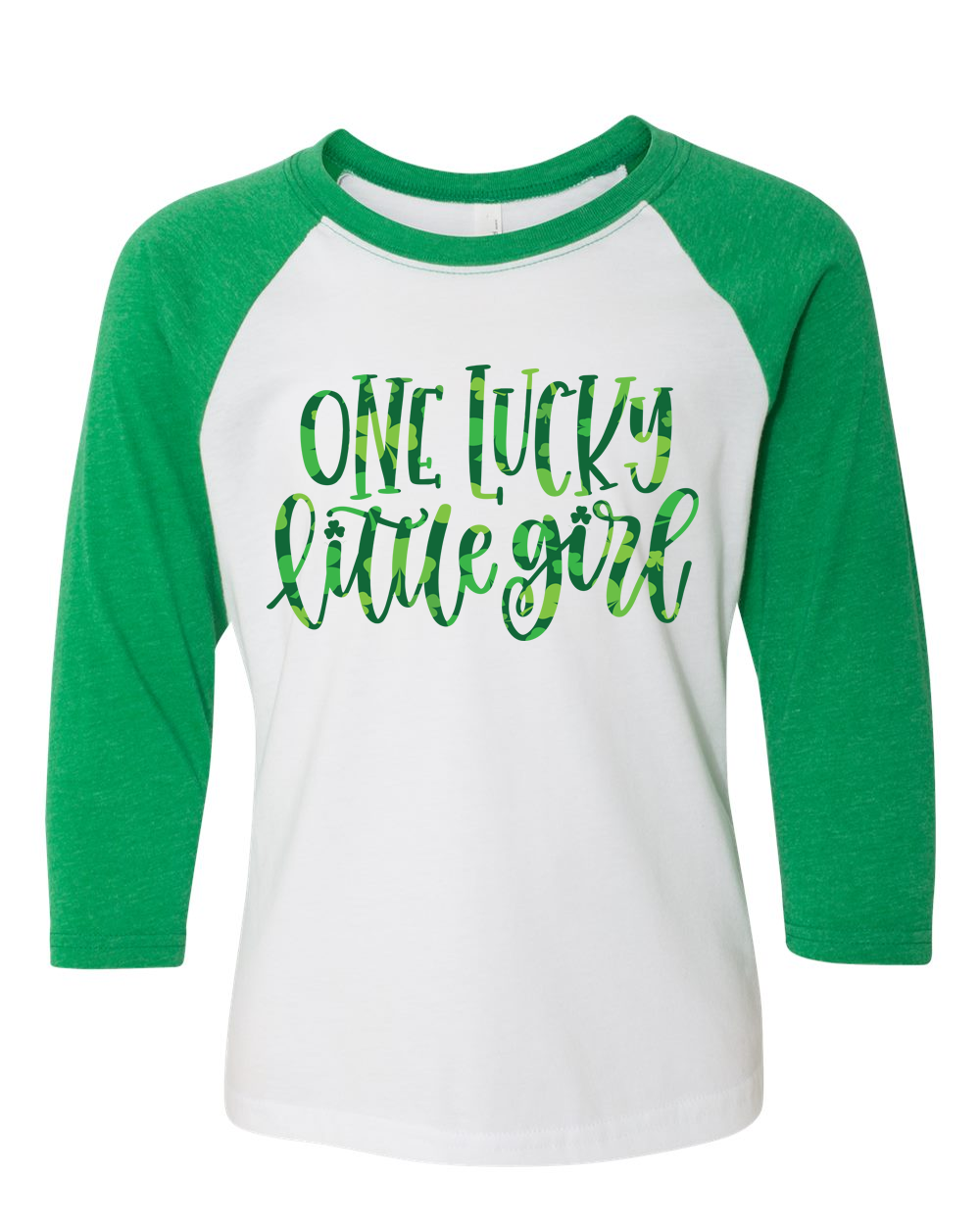 Lucky Little Girl 3/4 Sleeve Baseball Tee (Toddler and Youth)
