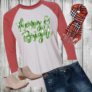 Triblend Women's Merry and Bright 3/4 Sleeve Raglan