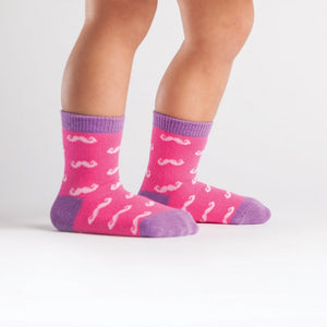 Toddler Pink Mustache Crew Socks