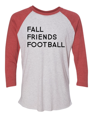 Triblend Women's Fall, Friends, Football 3/4 Sleeve Raglan