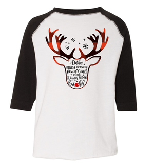 Reindeer Names 3/4 Sleeve Baseball Tee (Toddler and Youth)