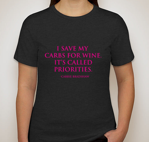 Women's Carrie Bradshaw Wine/Carbs Quote Relaxed Crew