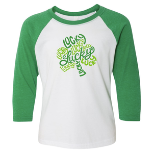 Lucky Shamrock 3/4 Sleeve Baseball Tee (Toddler and Youth)