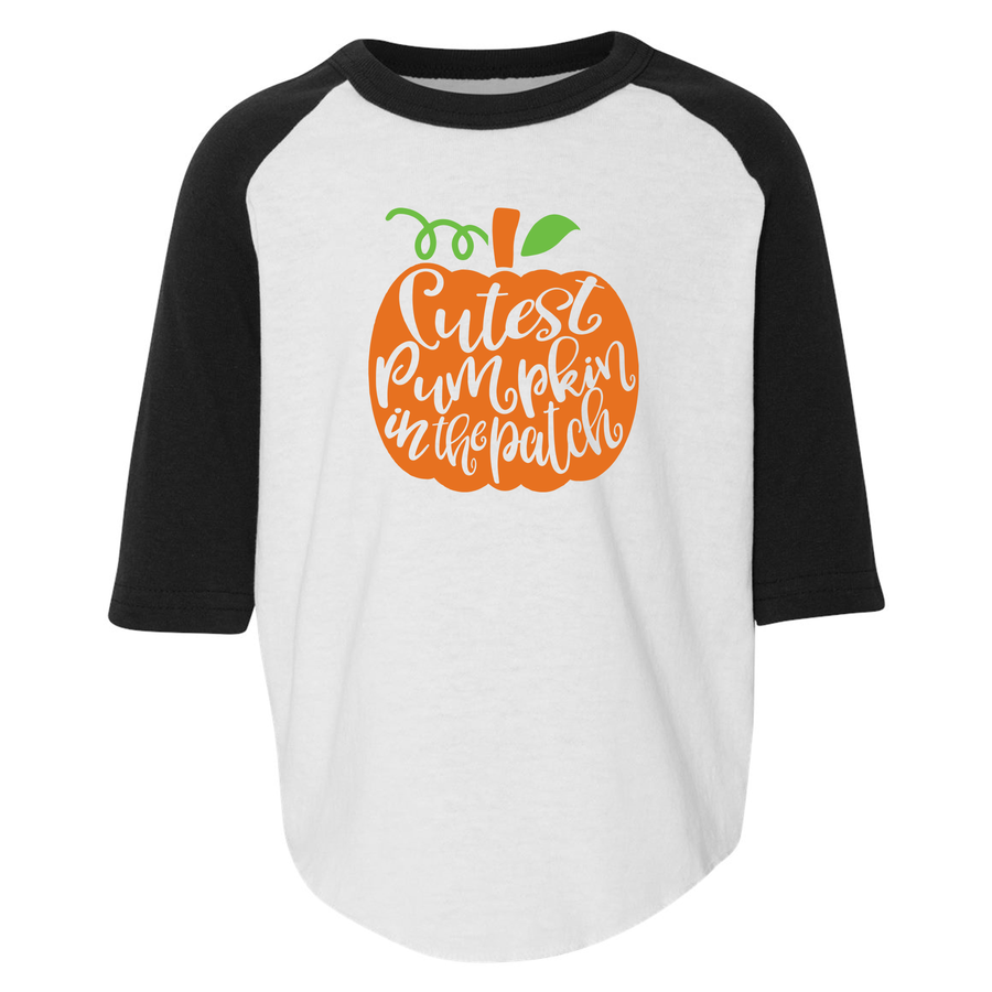 Cutest Pumpkin In The Patch 3/4 Sleeve Baseball Tee (Toddler)