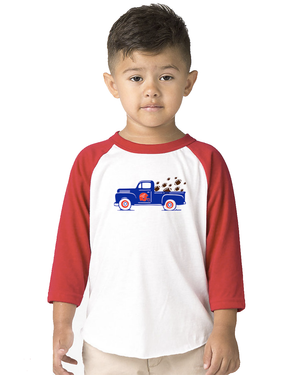 Toddler Football Truck 3/4 Sleeve Baseball Tee