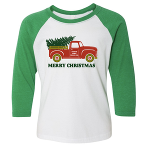North Pole Truck 3/4 Sleeve Raglan: Infant, Toddler, and Youth