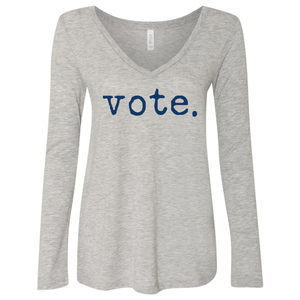 Women's V-Neck Vote Long Sleeve Shirt