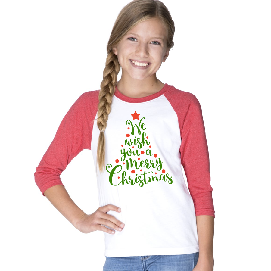 We Wish You a Merry Christmas 3/4 Sleeve Raglan: Infant, Toddler, and Youth