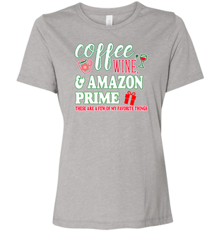Women's Coffee, Wine, and Amazon Prime Crew Neck T-Shirt