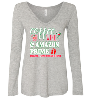 Women's Coffee, Wine, and Amazon Prime V-Neck Long Sleeve Shirt