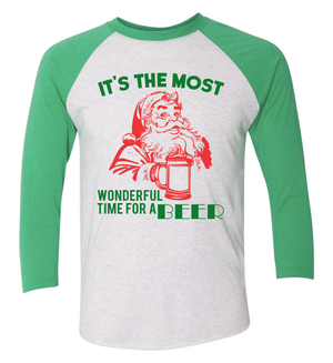Triblend Unisex It's The Most Wonderful Time For Beer 3/4 Sleeve Raglan