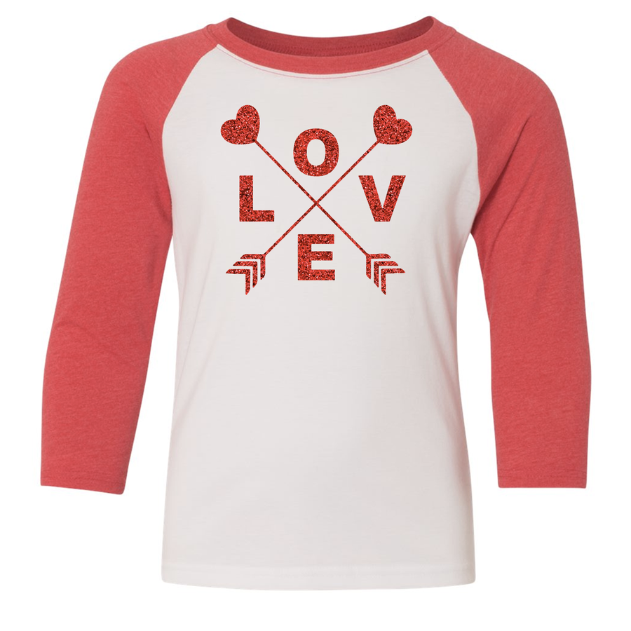 Glitter Love 3/4 Sleeve Raglan (Toddler and Youth)