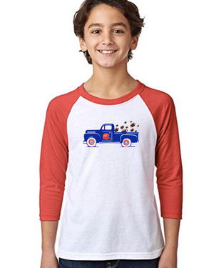 Youth Football Truck 3/4 Sleeve Baseball Tee