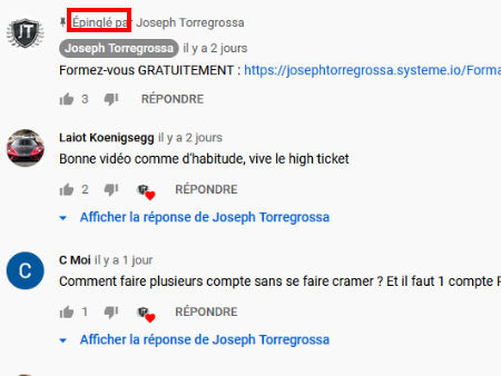 epingler commentaire youtube
