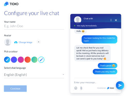 Application dropshipping Shopify Tidio Live Chat