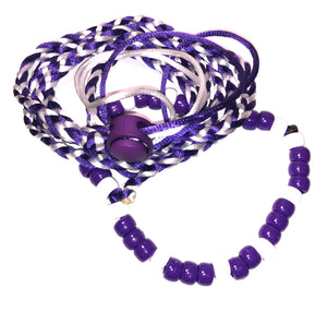 Purple and white adjustable leash