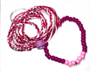 Pink and white adjustable leash