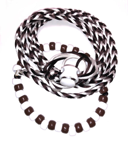 Brown and white adjustable leash