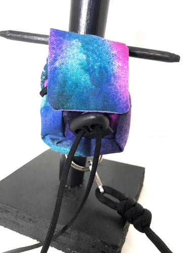 Blue and purple tie dye backpack tracker harness
