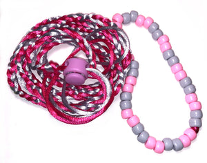 Pink and grey adjustable leash