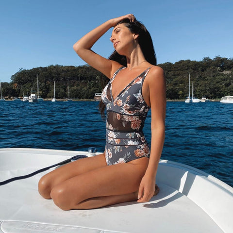 Alexandra Talifero in Monte and Lou Vintage Floral mesh one piece