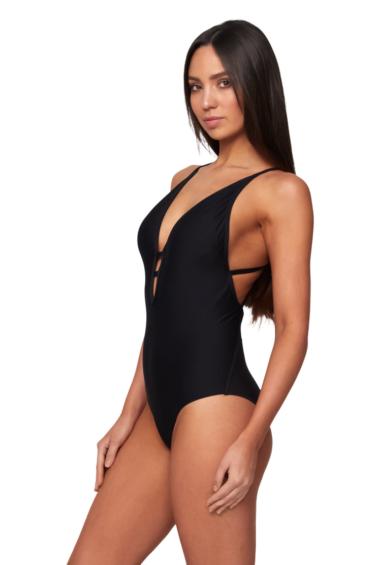 Cross Strap Plunge Maillot - One Piece - Monte & Lou