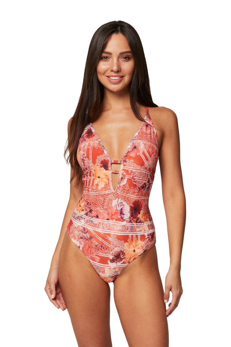 Simeulu Cross Strap Plunge Maillot - One Piece - Monte & Lou